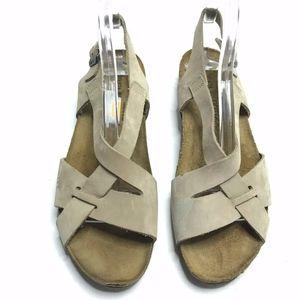 NAOT Cork Sandals Beige Suede Straps